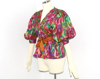 GIVENCHY COUTURE Vintage Floral Silk Peasant Blouse