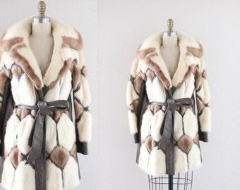 Genuine Blond Mink Fur + Leather Coat / 1970's