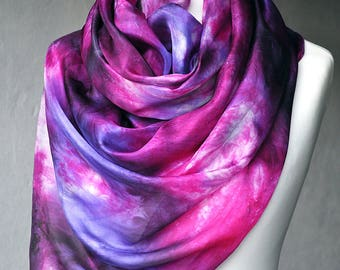 FREE SHIPPING -- Pure Silk Scarf Handmade -- Hand Painted Abstract Silk Scarf Shawl - Purple Violet Multicolor Pink