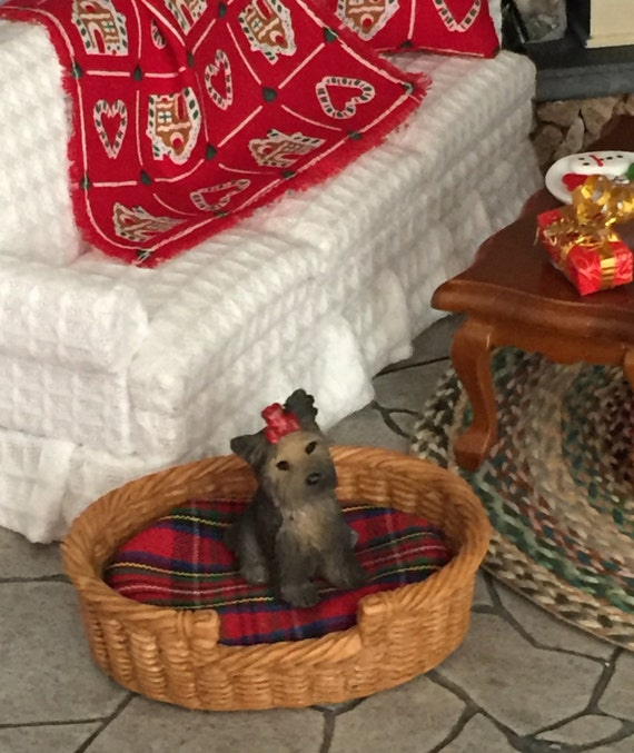 Miniature Dog Bed, Large Size Oval Shape With Removable Cushion, Style 1138, Dollhouse Miniature, 1:12 Scale, Wicker Look Dog Bed