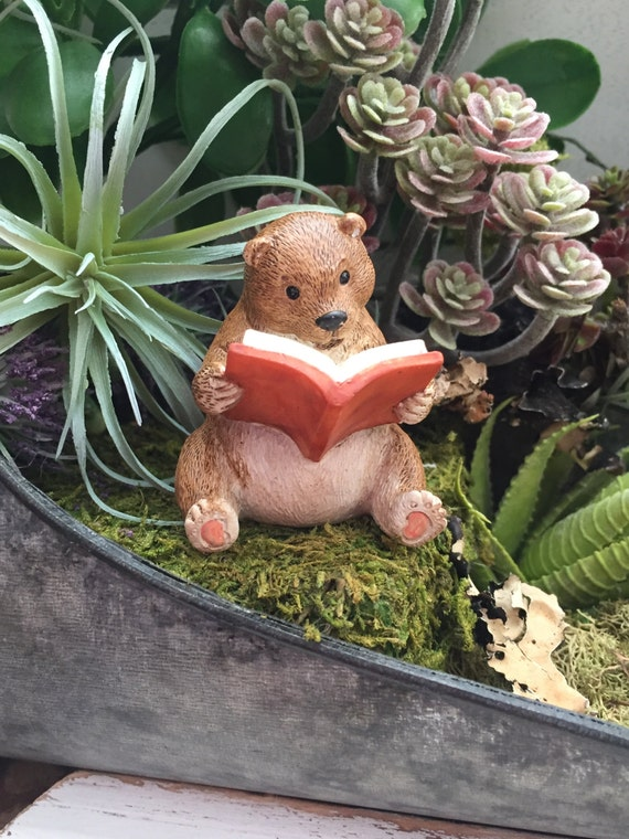 Bear Figurine, Bear Reading A Book, Fairy Garden Accessory, Miniature Home & Garden Decor, Topper, Shelf Sitter, Cute Bear Figurine