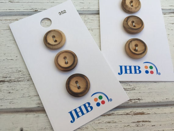 """Wood Buttons, Twiggy Wood Buttons by JHB, 2 Hole, Carded Set of 3, Style 352, 5/8"""" (16mm), Sewing, Crafting, Quilting, Embellishments"""