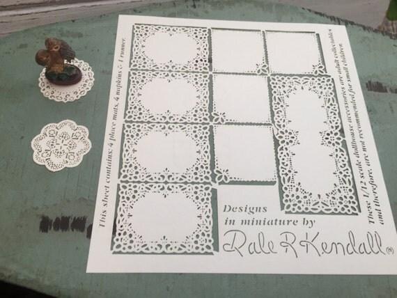 Miniature Placemats, Napkins & Runner, Laser Cut Paper Set, Dollhouse Miniatures, 1:12 Scale, Dollhouse Accessories, Dollhouse Decor