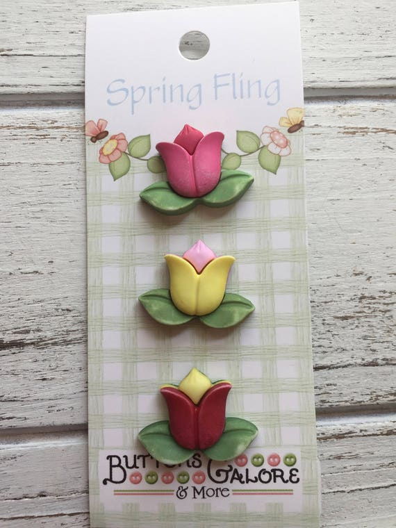 """Tulip Flower Buttons, """"Tulips"""" Style SF122, Carded Novelty Buttons by Buttons Galore, Shank Back Buttons, 3D Buttons Embellishments"""