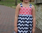 Boutique Girls  navy chevron and coral quatrefoil knot dress, sizes 1-12, girls dress, navy coral  dress