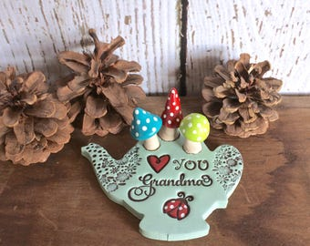Heart You Grandma Mother's Day Present Miniature Clay Teapot Mushroom Garden Figurine, Personalized Love Gift For Her, Indoor Mini Garden
