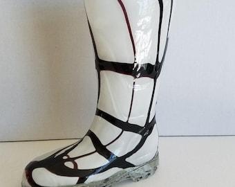Vintage Glass White and Dark Purple Rain Boot Vase