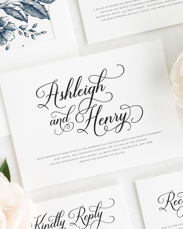 Vintage Script Wedding Invitations Sample