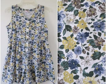 1990s Floral Romper - Blue and Yellow Floral - Bust 34 by No Boundaries