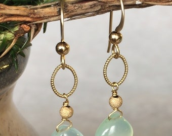 Aqua Chalcedony Earrings, Gold Chalcedony Earrings, Gold Filled Jewelry, Aqua Bridal Earrings, Blue Chalcedony Earrings, Dangle Earrings