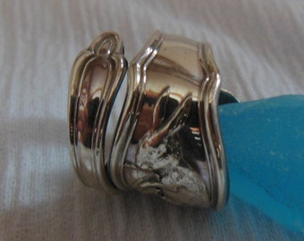 Rabbit  Antique Sterling Silver Spoon Ring    Size 7.5