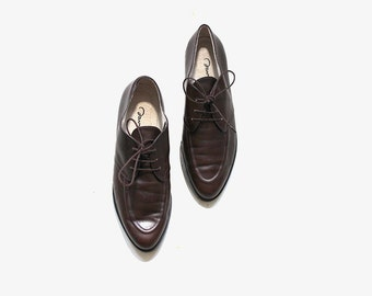 Vintage Leather Oxfords 8.5 / Brown Leather Oxfords / Lace Up Brogues / Womens Oxfords