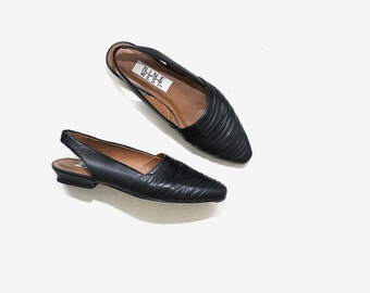 Vintage Leather Skimmers 8.5 / Black Leather Flats / Slingback Flats / Minimal Flats