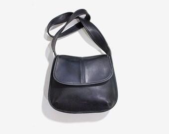 Vintage Coach Bag / Coach Ergo Flap Bag / Black Leather Coach Purse / Coach Shoulder Bag