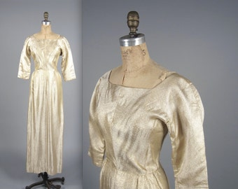1960s gold lurex gown • vintage 60s dress • evening wiggle dress
