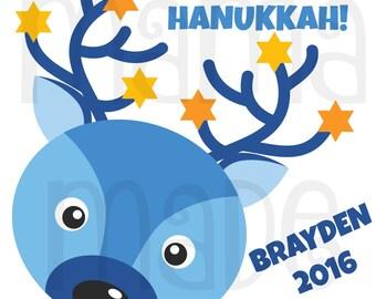 Boy's Hanukkah Shirt or Bodysuit Boy's Hanukkah Reindeer Shirt Boy's Chanukkah Shirt Boy's Personalized Hanukkah Shirt Boys Holiday Shirt