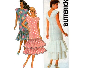 80s Kathryn Conover Drop Waist Flounced Dress pattern Butterick 5624 V Back Cap Sleeved Prom Formal Special Occasion Dress Size 8 10 12
