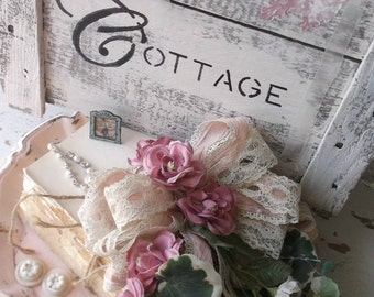French Nordic Sign, Shabby Cottage Chic, Flea Market, Decoupage Stenciled Sign, Vintage White, Pink, Rustic Chic Wood SIgn
