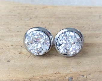 Silver Druzy Stud Earrings, Faux Drusy Post Earrings, 10mm Round Stainless Steel Studs, Gift For Her, Bridesmaid Gifts, Small Dainty Studs
