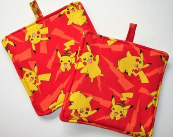 Pokemon, Pikachu Set of 2 Heavy Duty,Thick Pot Holders,Gotta Catch Them All Kitchen Hot Pads,Trivets,Lightening Bolt Mug Rugs,Collector Gift