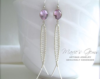 Amethyst Earrings, Sterling Silver, Wire Wrapped, Faceted Gemstones, Fish, Ichthys, Lavender Amethyst, Handmade Artisan Jewelry