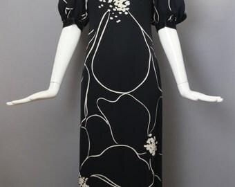 70s JAMES GALANOS bold stroke floral silk print maxi evening gown cocktial dress silk vintage 1970s xs s