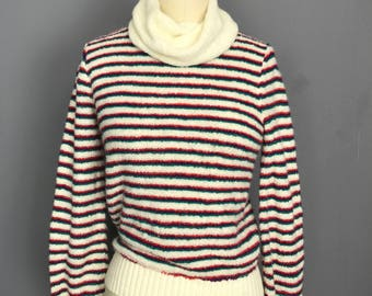 60s 70s chenille loop knit soft Striped turtleneck long sleeve sweater small medium WT31390