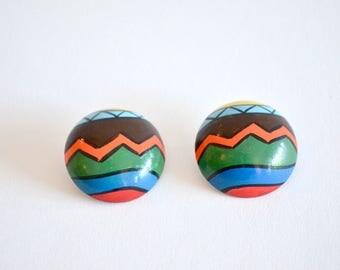 Vintage HANDPAINTED wood earrings