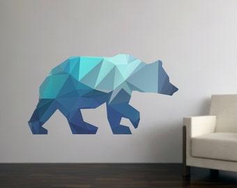 Bear Wall Decal - Geometric Bear Decal - Modern Bear Wall Decal - Reusable Bear Fabric Decal - Polygon Bear Decal - Bear Wall Decals