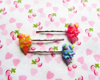 Ice Cream Cone Hair Pins / Bobby Pins, Cute Hair Pins / Bobby Pins, Kawaii, Sweet Lolita, Cute, Ice Cream