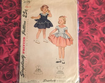 50's Vintage Simplicity Sewing Pattern Childs Dress
