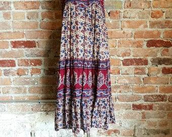 vintage 70s Indian cotton gauze dress semi sheer ethnic boho hippie festival Earth tones Summer
