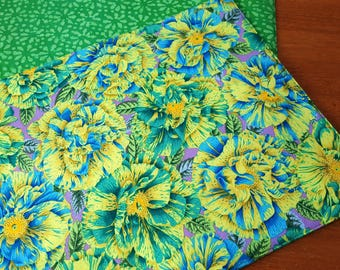 Green Placemats - Reversible Placemats - Heat Resistant Placemats - Floral Placemats