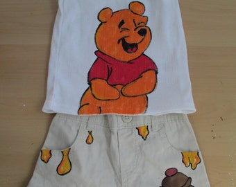 Winnie the pooh bear, winnie the pooh, childrens clothes, baby clothes, disney clothes, disney, 18 month old, baby clothes, hand painted