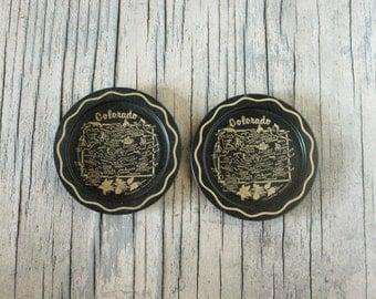 Vintage Colorado Coasters, Set of Two, Colorado Map, Black and Gold, Mid Century Home Decor, Western United States, Americana