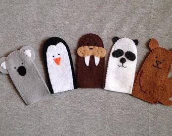 Animals at the Zoo Finger Puppets Set of Five Includes a Penguin, Walrus, Panda, Koala and Kangaroo