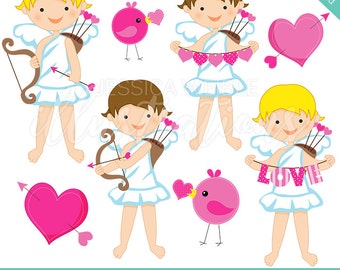 Cupid Kids Cute Digital Clipart for Invitations, Card Design, Scrapbooking, and Web Design, Valentine Clipart