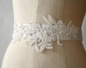 Bridal Sash, Crystal Sash, Flower Sash, Wedding Sash