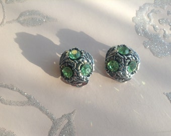 Vintage Green Diamonte Clip-on Earrings