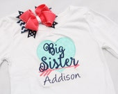Big Sister Shirt - Arrow Big Sister - Personalized Big/Middle/Little Sis Shirt  and Hairbow - Coral Mint Navy