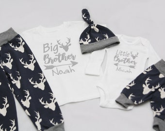 Big Brother Little Brother, Newborn Coming Home Outfit, coming home outfit, baby shower gift,- Jersey knit Leggings, Knot Hat, and Bodysuit