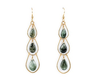 Green Rutilated Quartz Triple Hoop Earrings
