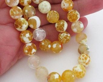 "Yellow Round Agate Beads - Mix Yellow White Faceted Agate Beads - Faceted Round Gemstone - 10mm - 16"" Strand - Diy Jewelry Making"