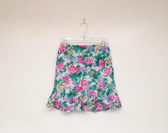 ON SALE Vintage 1980s Rainbow Rose Print High Waisted Soft Cotton Mini Skirt