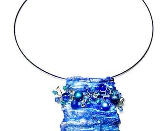 Fiber Art Jewelry Blue Statement Necklace, Artsy Necklace Pendant