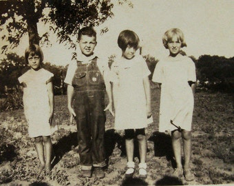 Three Pretty Girls in White Dresses and a Cute Boy in Overalls-1940's Snapshot-Black and White Vintage Photograph