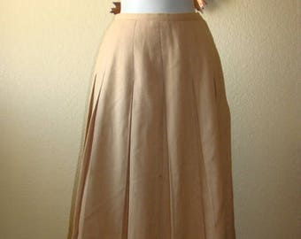 Century Proportioned Skirt Box Pleat Camel Tan All Wool Small Mid Century Retro Housewife PinUp Girl Wear