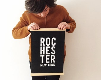 Rochester Typographical Vinyl Sign with Wood Rails