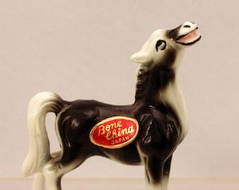 Miniature Black Horse Figurine Farm Animal Bone China Japan Vintage 1960s Paper Label T
