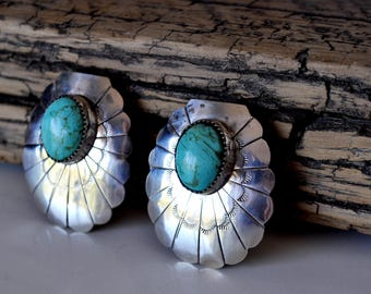 Native American Sterling Turquoise Earrings Dorothy Spencer